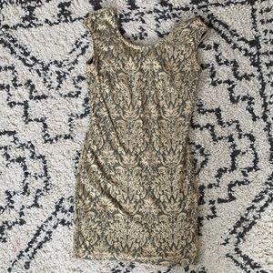 Gold bow back dress